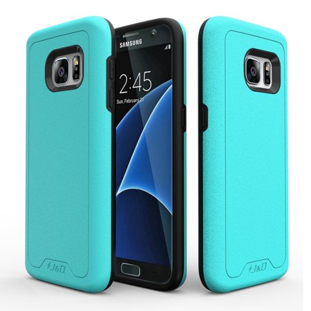 Aqua Case - Galaxy S7 Case, J&D [ArmorBox] [Dual Layer] Hybrid Shock Proof Protective Rugged Case for Samsung Galaxy S7 – Aqua