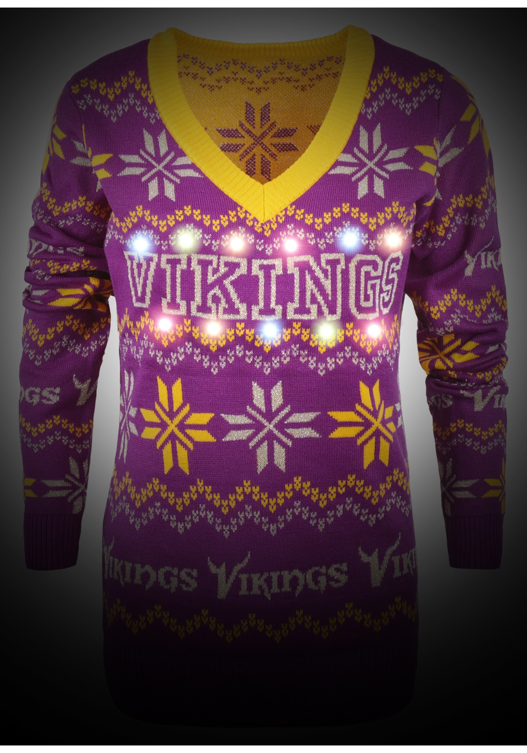 c3c7d3dbe32 Minnesota Vikings Women s Light Up V-Neck Bluetooth Sweater - image 1 of 1  zoomed image
