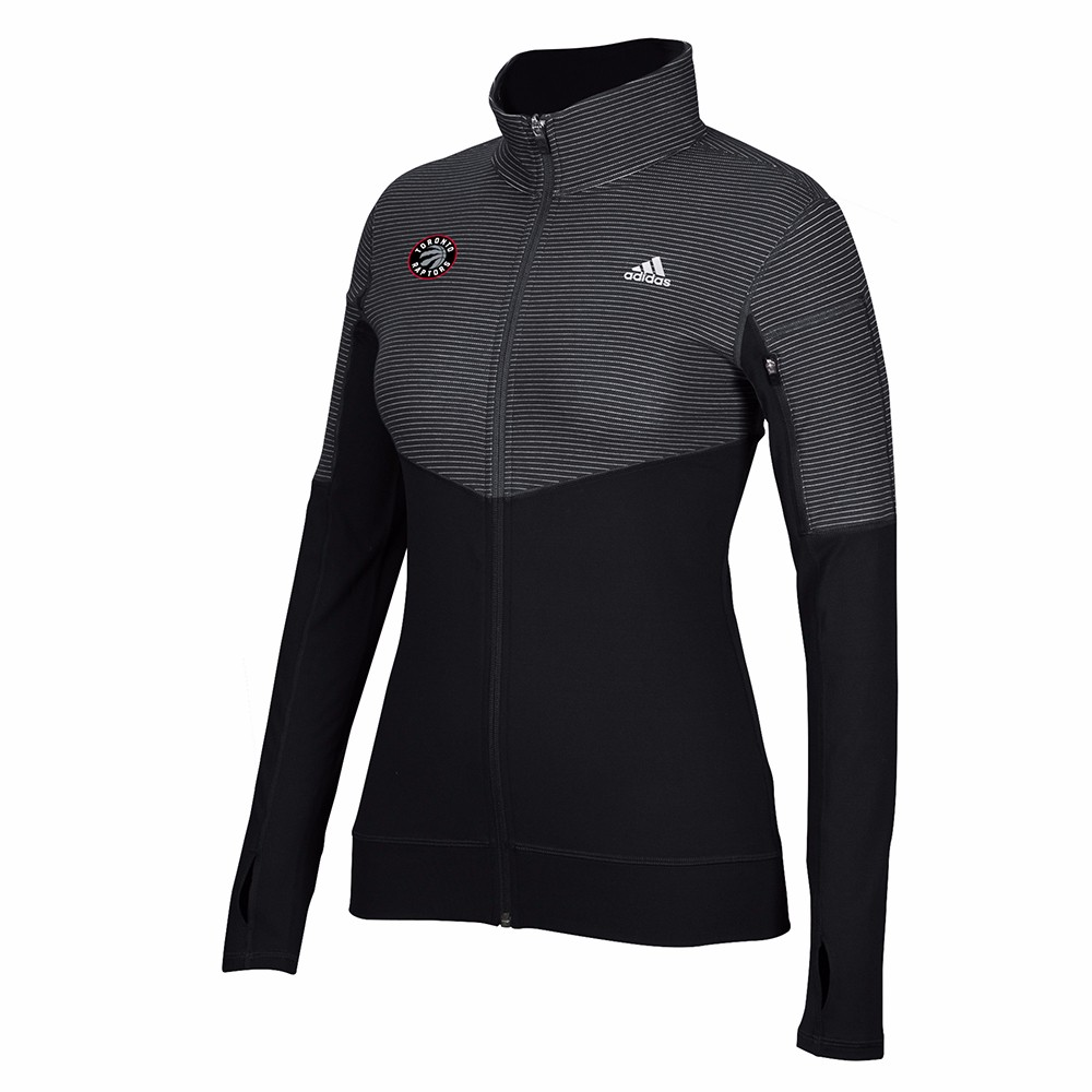 Toronto Raptors NBA Adidas Black Lightweight Climalite Performance Full Zip Team Logo Pullover Jacket For Women by Adidas