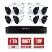 Night Owl 8 Channel 5MP Extreme HD Wired Security DVR with 1 TB HDD and 8 x 5MP Wired Infrared Cameras with L2 Color Boost Technology