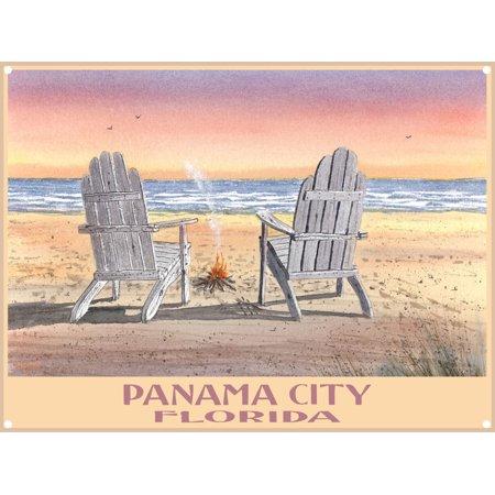Panama City Florida Adirondack Chairs Beach Metal Art Print by Dave Bartholet (9