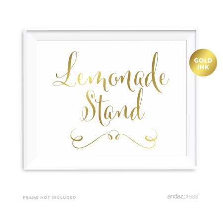 Lemonade Metallic Gold Wedding Party Signs