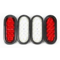 """6"""" Oval 10 LED Trailer Lights 2 Red Stop/Turn/Tail 2 Clear/Backup Grommet Plugs"""