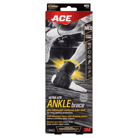 ACE Ultra-Lite Ankle Brace, Medium, Black, 1/pack Ace Bandage Ankle Support