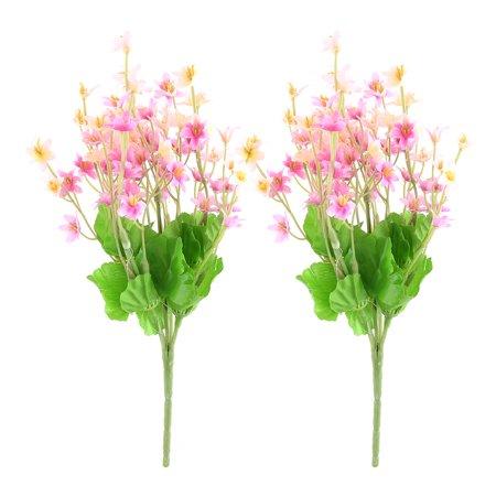 Dinning Room Fabric Craft Artificial Emulational Flower Fuchsia Light Pink 2pcs