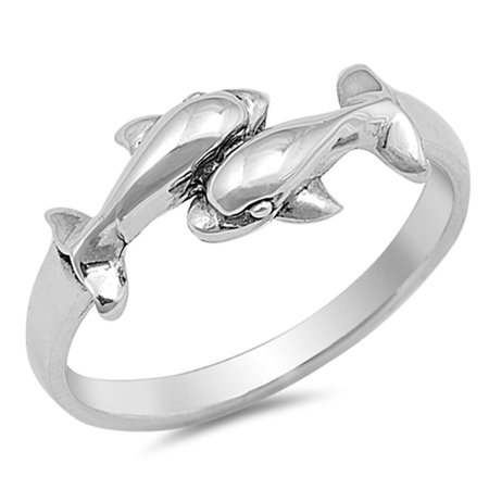 Two Dolphins .925 Sterling Silver Ring Sizes 3-10 ()