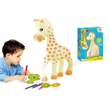 Lightahead? 2 in 1 Giraffe Projector Set Drawing and Learning Projector Painting Toy for Kids with 6 Picture Discs each with 3 Lantern Slides & 12 Water Color Pens