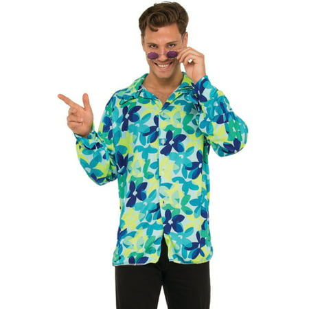 Men's 70s Groovy Dancing Dude Floral Disco Shirt Costume (70s Mens Costumes)