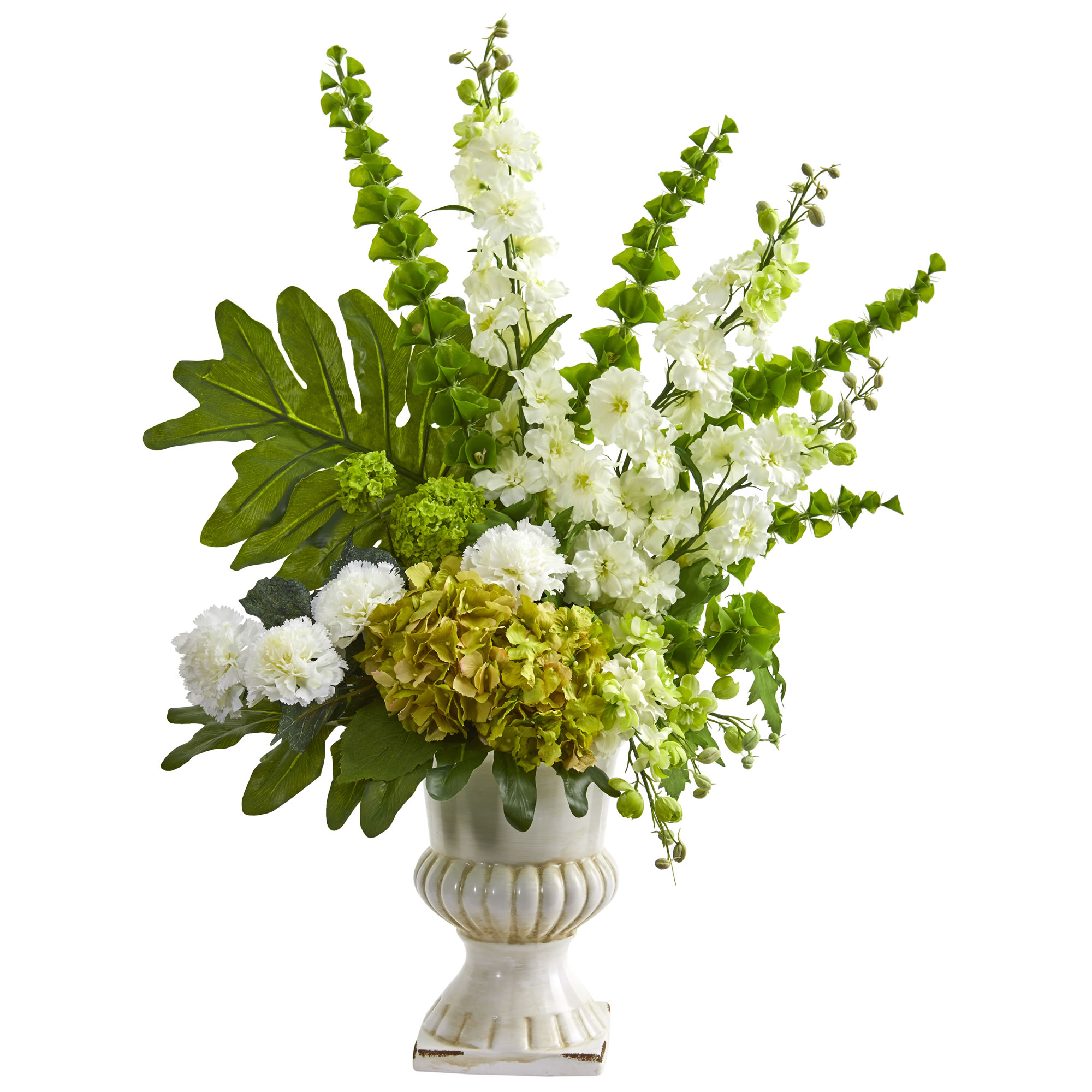 Nearly Natural 32-In. Mixed Artificial Flower Arrangement in White Urn