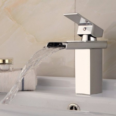 Solid Brass Bathroom Faucet Waterfall Basin Sink Tap Square Mixer Chrome Mono - image 6 of 9