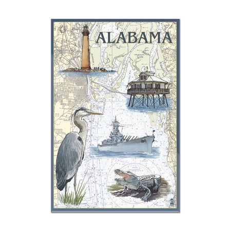 Alabama - Nautical Chart - Lantern Press Poster (8x12 Acrylic Wall Art Gallery - Alabama Acrylic