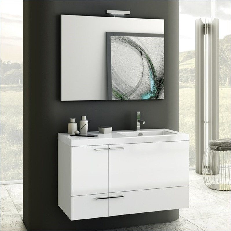 "Nameek's ACF 40"" New Space Wall Mounted Bathroom Vanity Set in Glossy White - ACF ANS22-Glossy White"