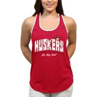Nebraska Huskers Choppy Arch Women'S/Juniors Team Tank Top