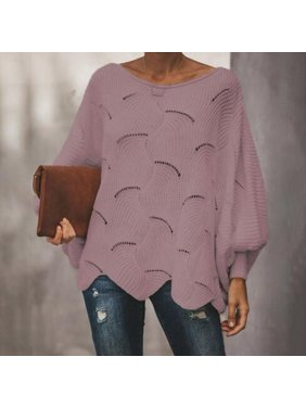 Hollow-out Knit Sweater Women Casual Loose Waved Hem Tops