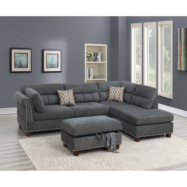 modern living room reversible sectional sofa l shaped couch tufted nickel stud arm ottoman w storage slate velvet fabric