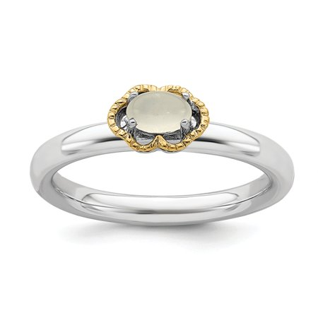 Roy Rose Jewelry Sterling Silver & 14K Gold Stackable Expressions Moonstone Ring Size 7 ()