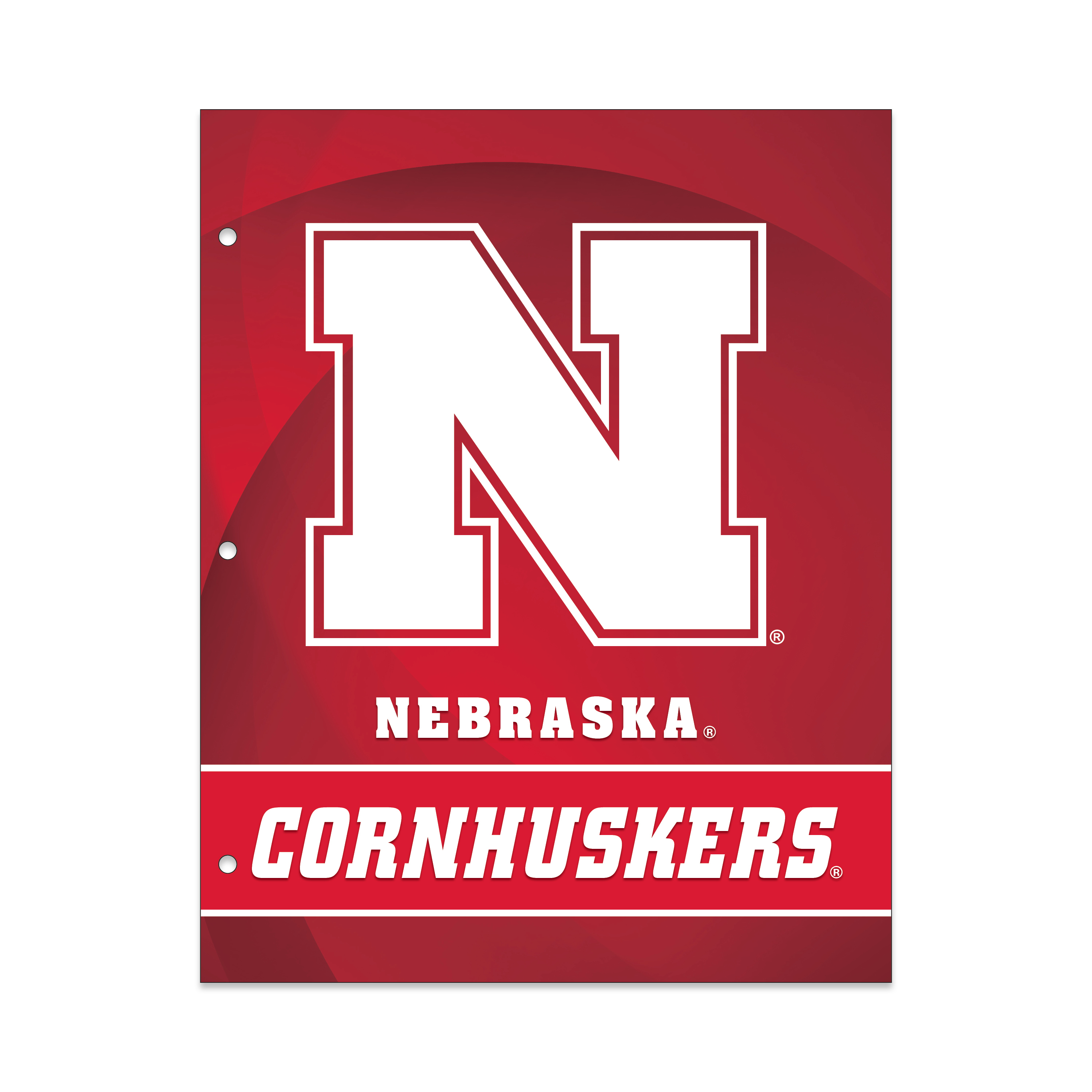 NCAA Nebraska Cornhuskers 2 Pocket Portfolio, Three Hole Punched, Fits Letter Size