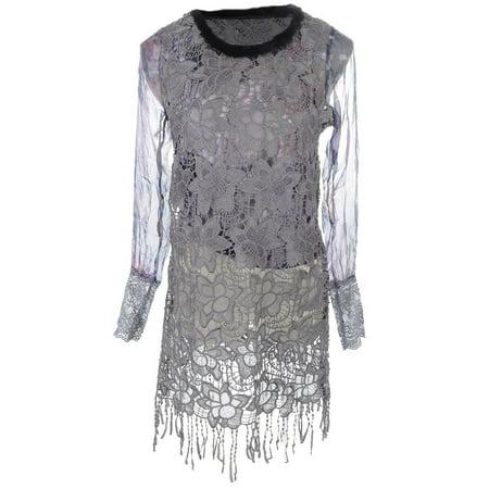 - S/M Fit Grey Fuzzy Trim Collar Floral Lace Overlay Fringe Hem Dress