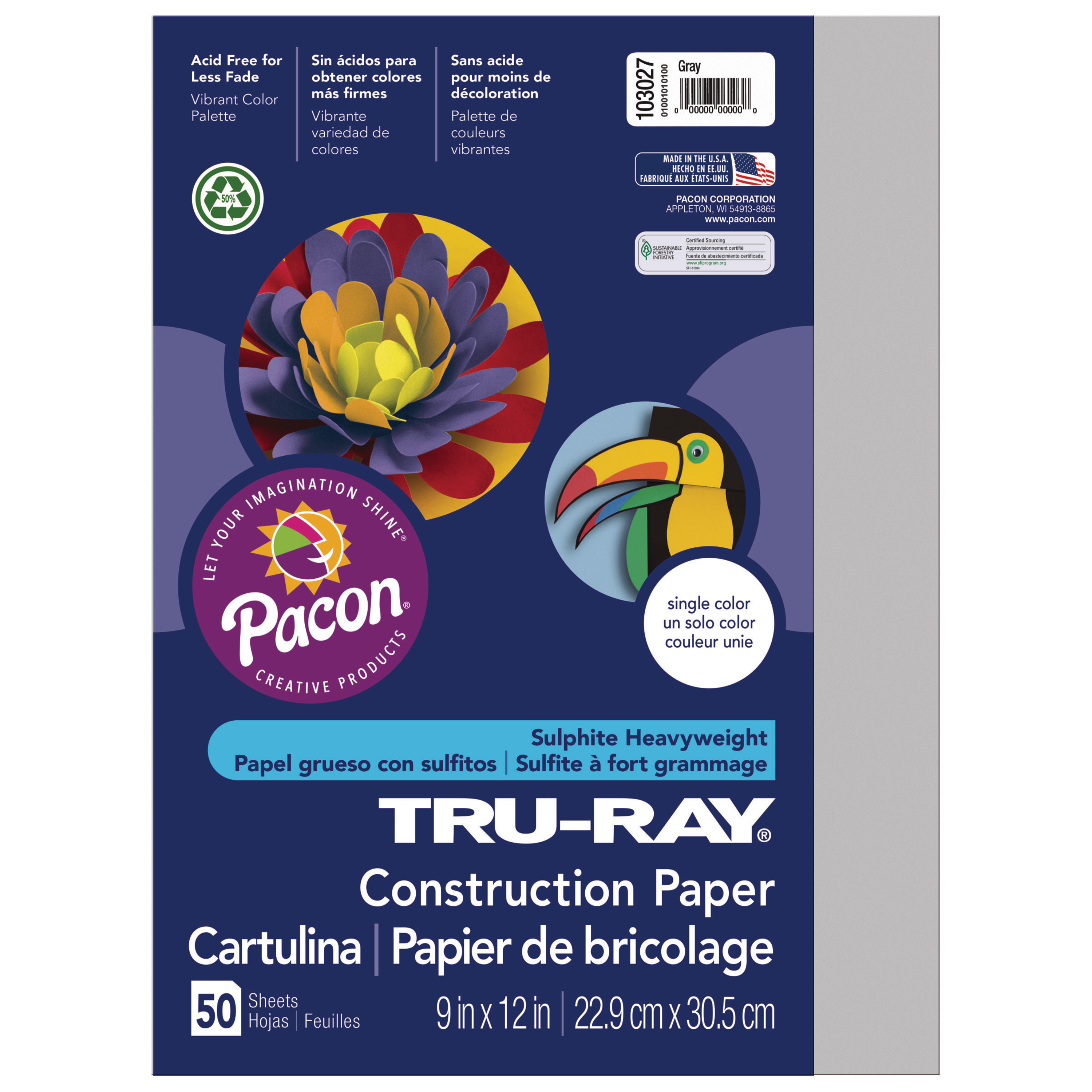 "Pacon Tru-Ray Construction Paper, 9"" x 12"", Gray"
