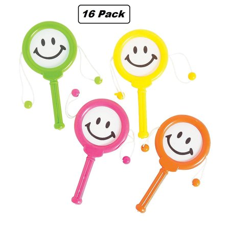 Smiley Face Drum Noise maker - Pack of 16 Assorted Colors Noisemaker for $<!---->