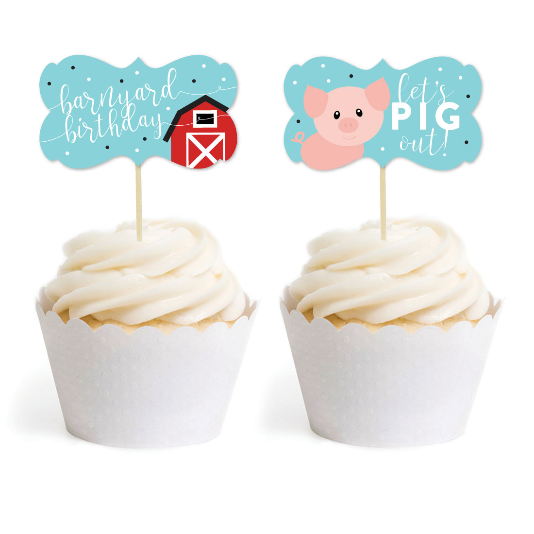Red Farmhouse Barnyard Birthday, Cupcake Topper DIY Party Favors Kit, Fancy Frame Shape, 18-Pack