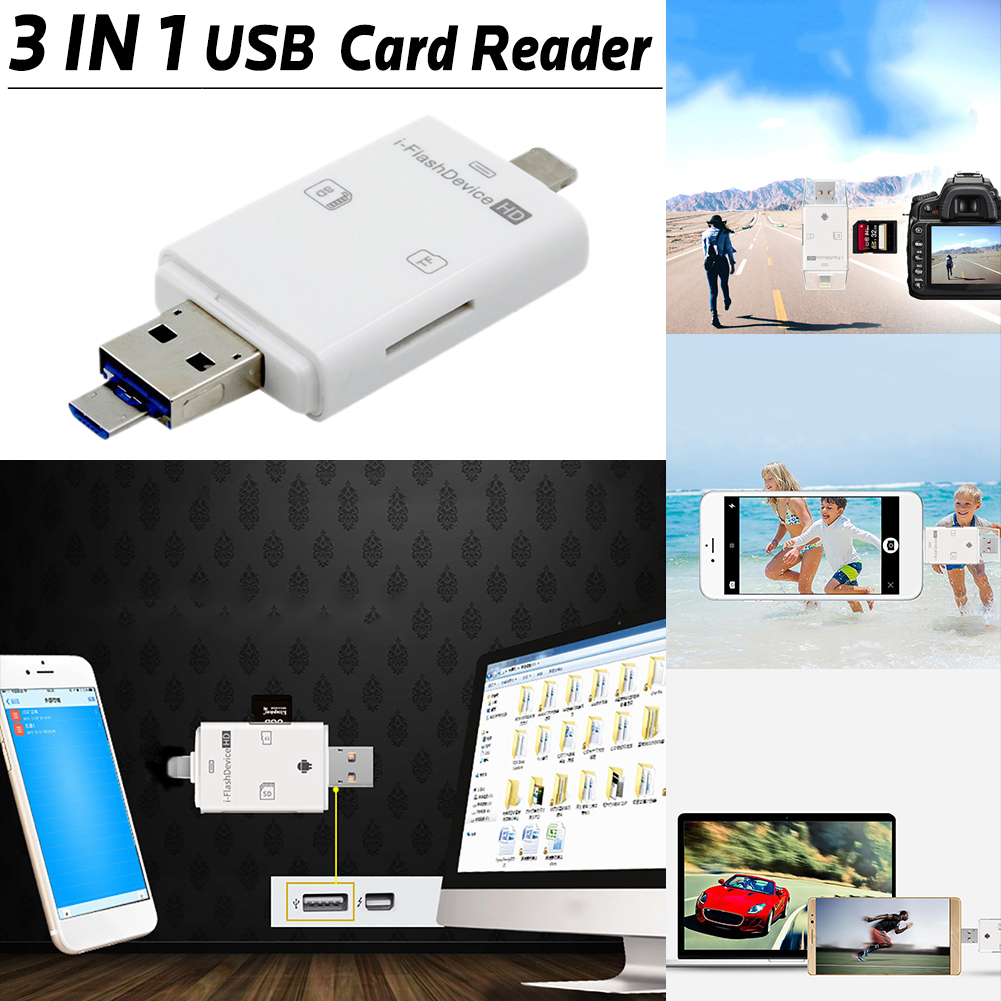 USB SDHC SDXC Micro SD OTG Card Reader ,SD Lightning Adapter 3 in 1 Mini Lightning/Android Micro USB/USB Memory Card Adapter for iPhone, iPad, PC and Other Devices
