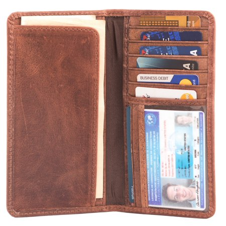 RAWHYD Full Grain Leather Long Bifold Wallet for Men | Perfect Checkbook Cover | Tall Cowboy Wallet (Hunter - Dallas Cowboys Wallet