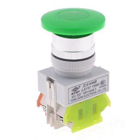 Unique Bargains 1NO 1NC Green Sign Mushroom Emergency Stop Push Button Switch 660V 10A DPST