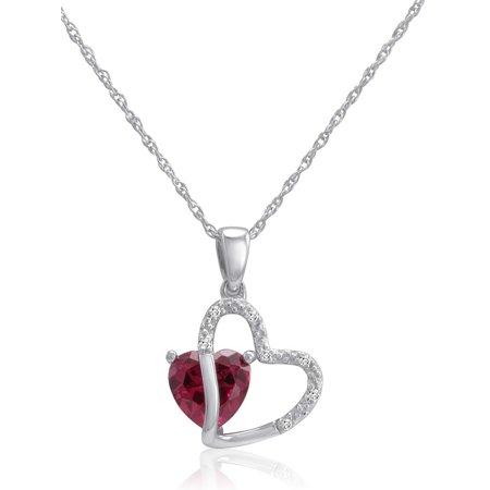 Sterling Silver Created Gemstone and Natural Diamond Heart - Jewel Heart