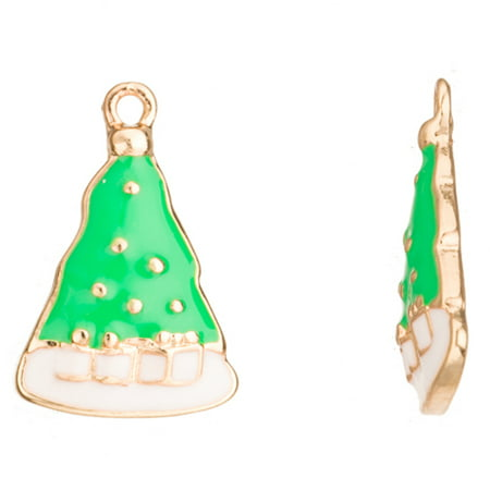 Enamel Drop, Green And White Christmas Tree Gold-Finished 15.5x3.5mm 2pcs/pack (2-pack Value Bundle), SAVE $1 (Value Driver Tree)