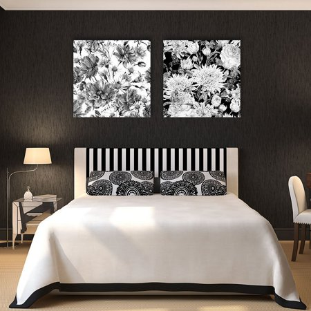 wall26-2 Panel Square Canvas Wall Art - Floral Pattern in Black and White - Giclee Print Gallery Wrap Modern Home Decor Ready to Hang - 12