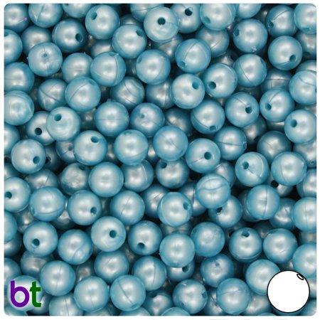 BeadTin Sky Blue Pearl 8mm Round Craft Beads (300pcs)