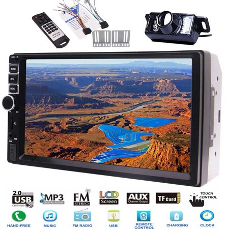 Rear View Camera Included!!! EinCar Audio Player Double Din Car MP5 Player, Capacitive Touchscreen, Bluetooth, FM Radio Car Stereo, 7 Inch Digital LCD Monitor, SWC, Colorful Key Lights Remote