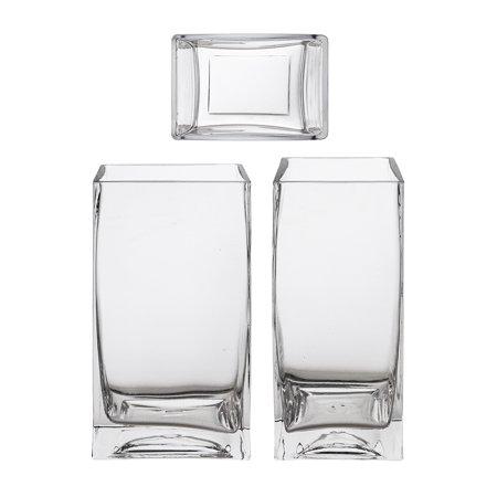Mega Vases 3 X 4 X 7 Rectangle Block Glass Vase Set Of 1