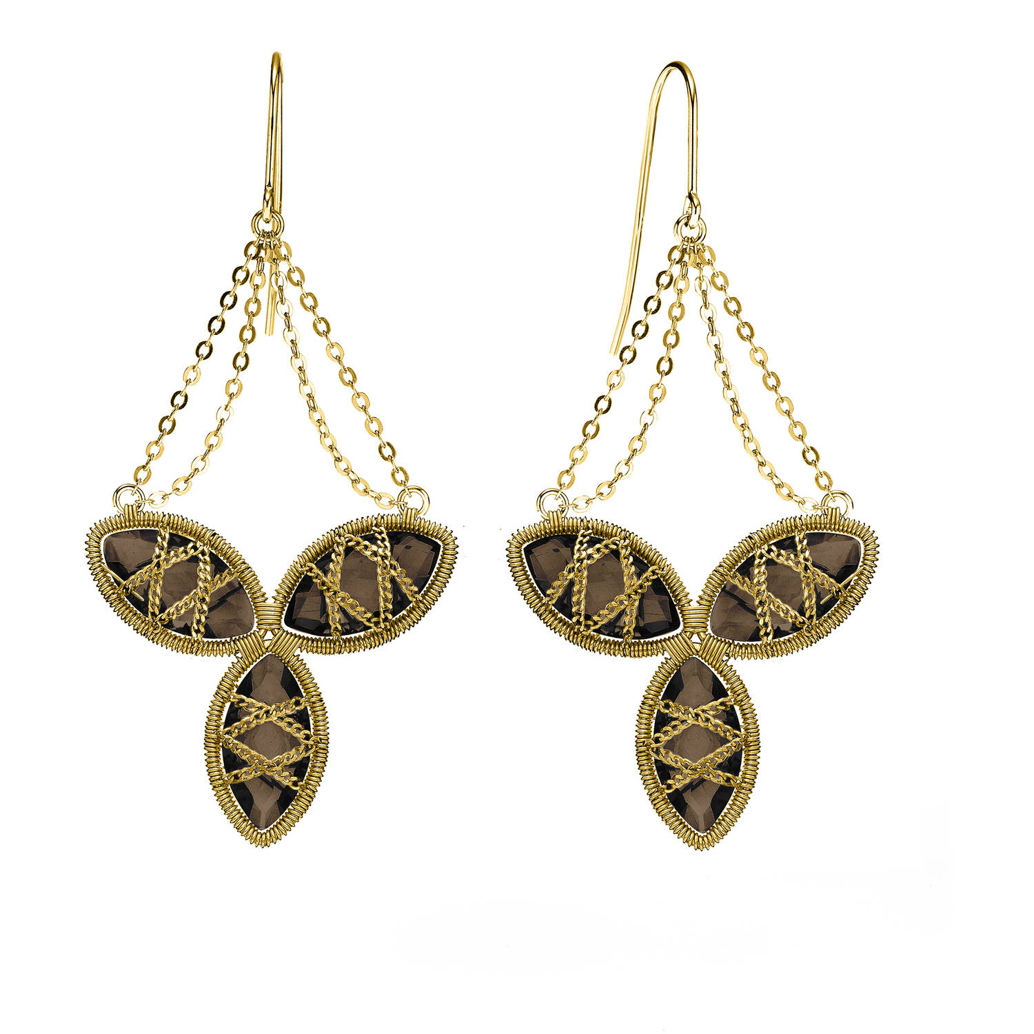 Image of 5th & Main 18kt Gold over Sterling Silver Hand-Wrapped Triple Floral Smokey Quartz Stone Earrings