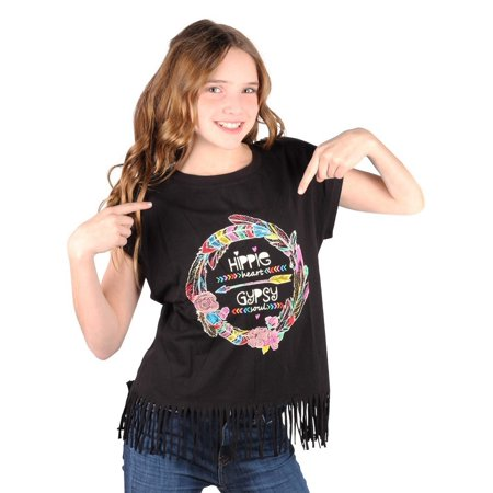 Lori&Jane Girls Black Graphic Print Hippie Fringe Short Sleeve T-Shirt](Girl Hippies)