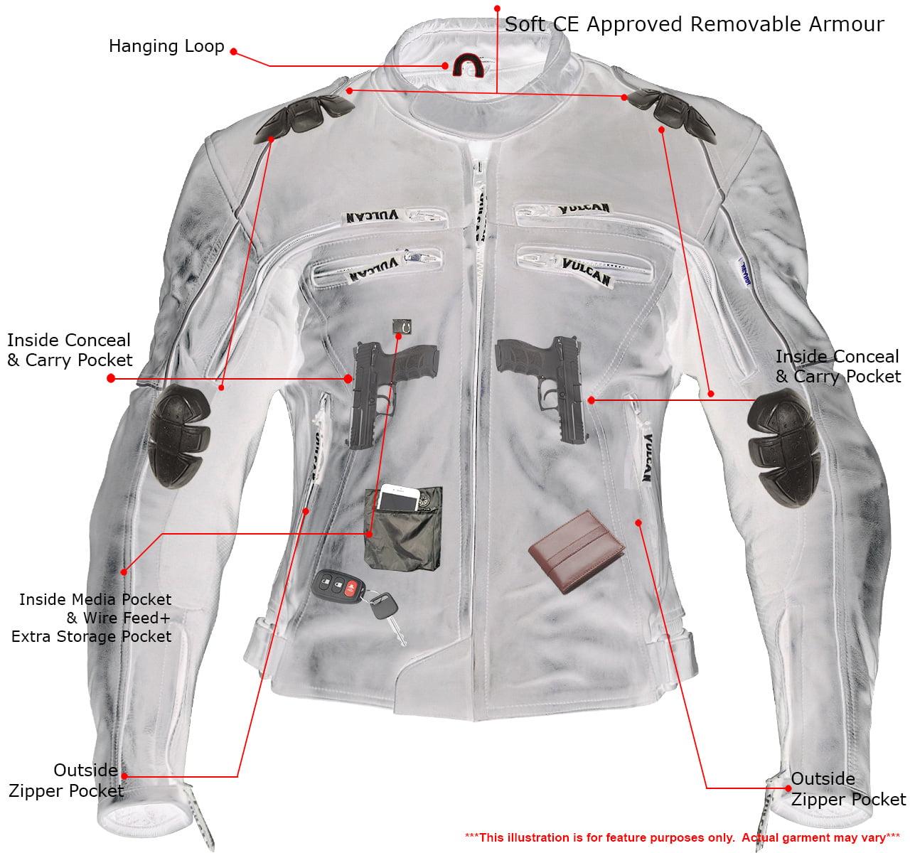 Vulcan VNE98431 Ace Mens Black Leather Armored Motorcycle Jacket