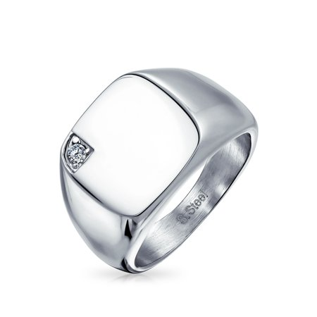 Mens Flat Top Square Cubic Zirconia Polished Finish Face Stainless Steel Solitaire CZ Signet Ring