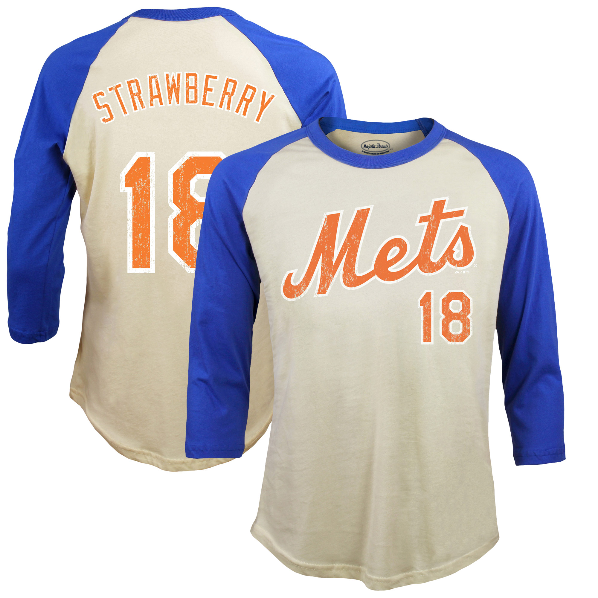Darryl Strawberry New York Mets Majestic Threads Softhand Cotton Cooperstown 3/4-Sleeve Raglan T-Shirt - Cream