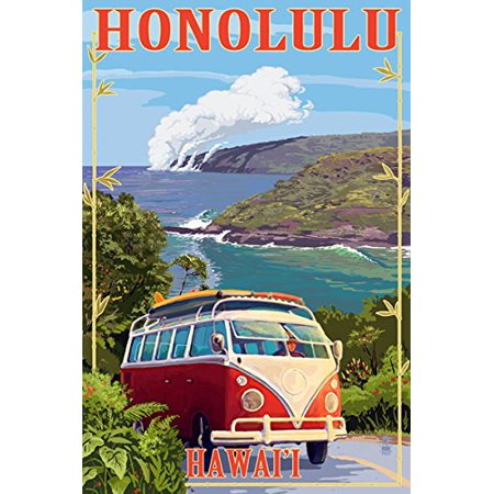 Vintage Art HONOLULU Hawaii STICKER (hawaiian vw beach island travel (Best Beaches In America To Visit)
