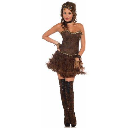 Brown Ruffle Crinoline Adult Steampunk Skirt Underskirt Womens Costume Accessory (Steampunk Skirts)