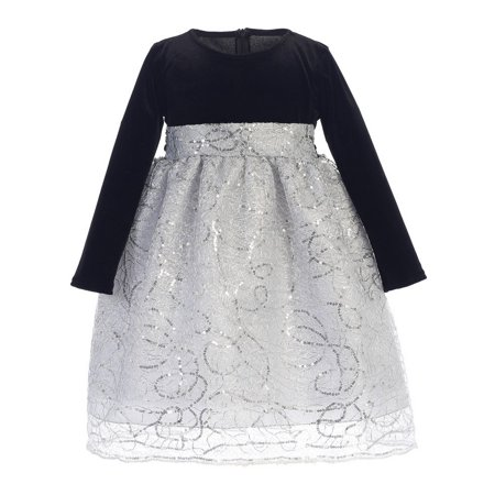 Little Girls Black Silver Velvet Corded Sequin Christmas Dress 2T-6
