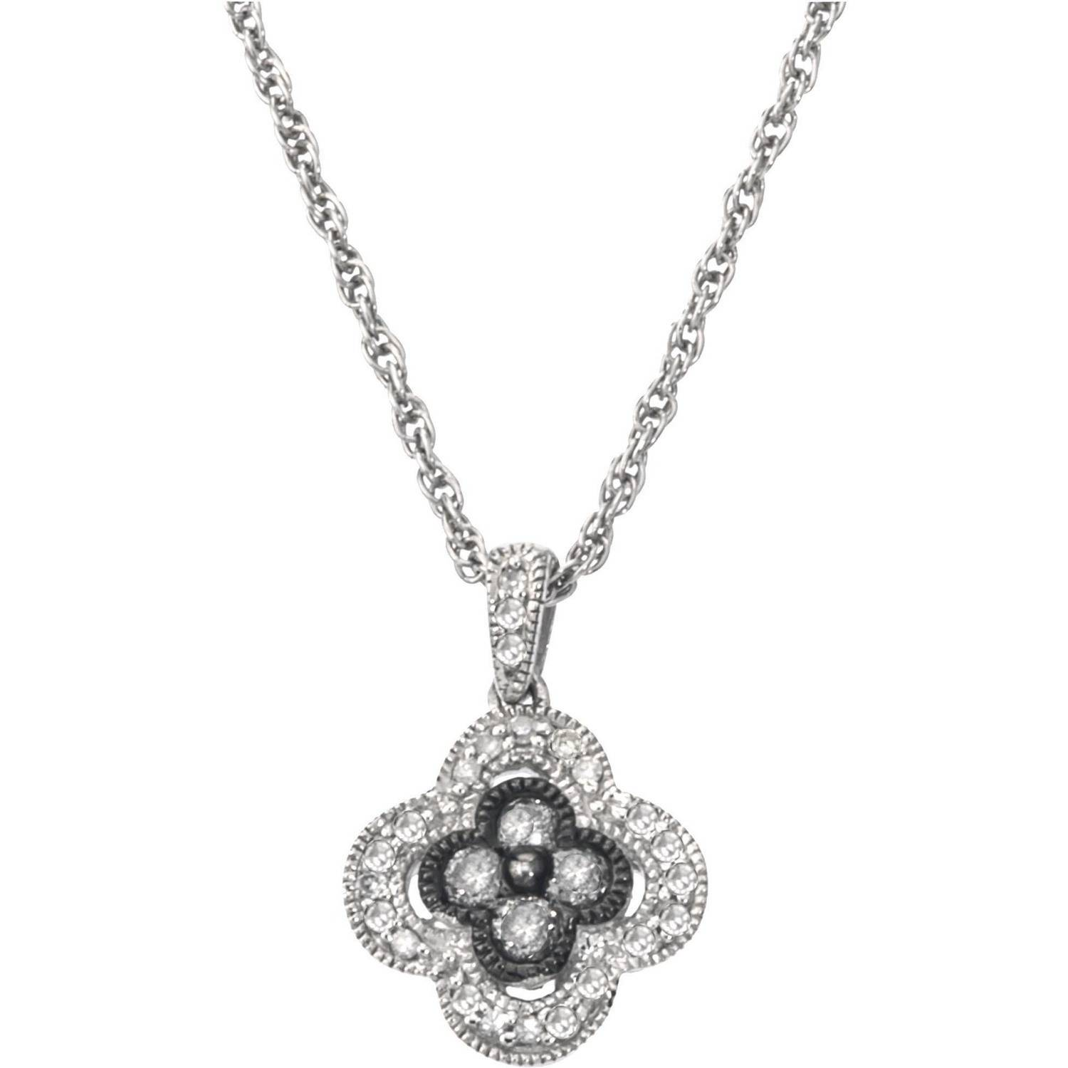 0.25 Carat T.W. Diamond Sterling Silver Clover Necklace (H-I, I2 and Grey Diamonds) by Generic