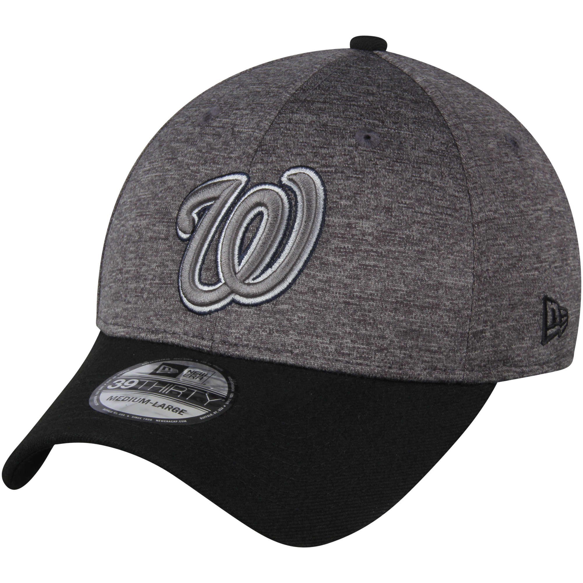 Washington Nationals New Era 39THIRTY Shadow Tech Color Pop Flex Hat - Heathered Gray/Black