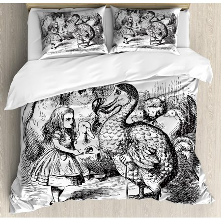 Kids Queen Size Duvet Cover Set, Alice in Wonderland with Dodo Animal Adventures Big Bird Sketch Children Theme, Decorative 3 Piece Bedding Set with 2 Pillow Shams, Black and White, by Ambesonne](Alice In Wonderland Queen)
