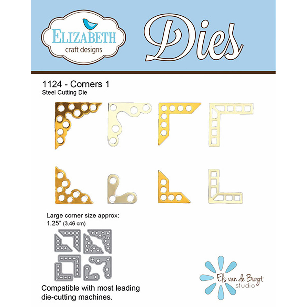 Elizabeth Craft Metal Die-Corners 1, 1.25""
