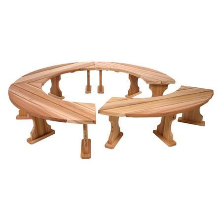 All Things Cedar 6.83 ft. Curved Cedar 4 Piece Garden Bench Set - Natural