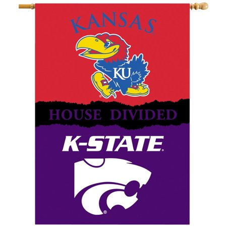 Pole Sleeve House - NCAA Kansas Jayhawks 2-Sided 28 x 40-Inch Banner with Pole Sleeve House Divided, One Size, Team Color, 100% Polyester By BSI