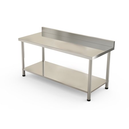 Zimtown Heavy Duty Stainless Steel Work Table Bench With Backsplash - Stainless steel work table with wheels