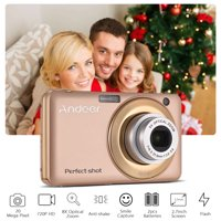 Andoer 20MP 720P HD Digital Camera Video Camcorder with 2pcs Rechargeable Batteries 8X Optical & 4X Digital Zoom Anti-shake 2.7inch LCD Screen Kids Christmas Gift